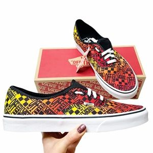 VANS Logo Flame Authentic Skate Shoes Sneakers
